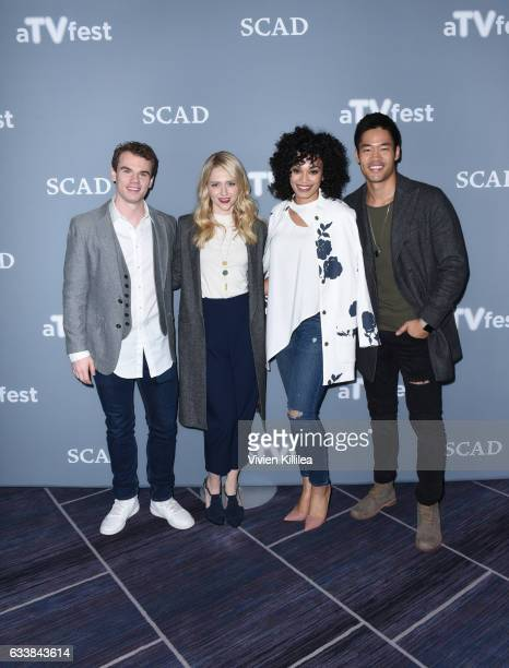 Actor Jay Armstrong Johnson Actress Johanna Braddy Actress Pearl Thusi and Actor David Lim attend a press junket for 'Quantico' on Day Three of the...