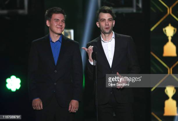 Actor Jay Baruchel and James Holzhauer present onstage during the 2019 NHL Awards at the Mandalay Bay Events Center on June 19 2019 in Las Vegas...
