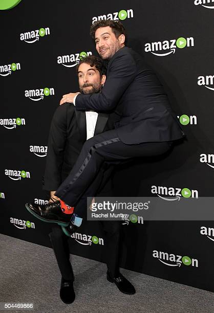 Actor Jay Duplass and Amazon Head of HalfHour Series Joe Louis attend Amazon's Golden Globe Awards Celebration at The Beverly Hilton Hotel on January...