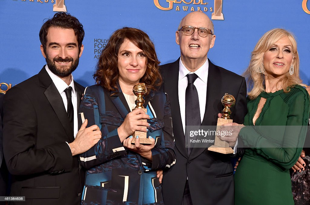 Actor Jay Duplass, writer/producer/director Jill Soloway, actors Jeffrey Tambor and Judith Light, winners of Best Actor in a Television Series – Musical or Comedy for 'Transparent,' pose in the press room during the 72nd Annual Golden Globe Awards at The Beverly Hilton Hotel on January 11, 2015 in Beverly Hills, California.
