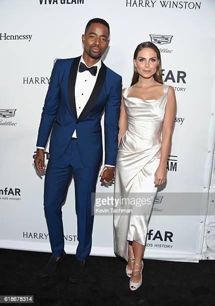 Actor Jay Ellis and actress Nina Senicar attend amfAR's Inspiration Gala at Milk Studios on October 27 2016 in Hollywood California