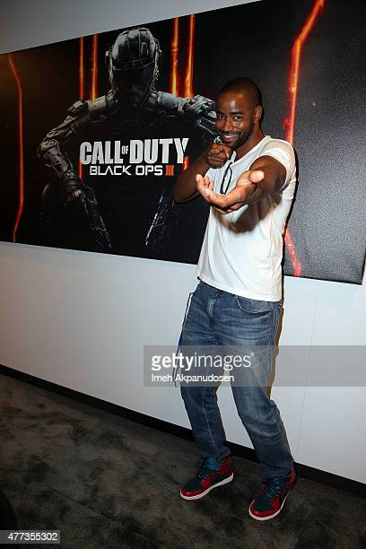 Actor Jay Ellis checks out Call of Duty: Black Ops 3 at the Activision booth at the E3 Convention at the Los Angeles Convention Center on June, 16...