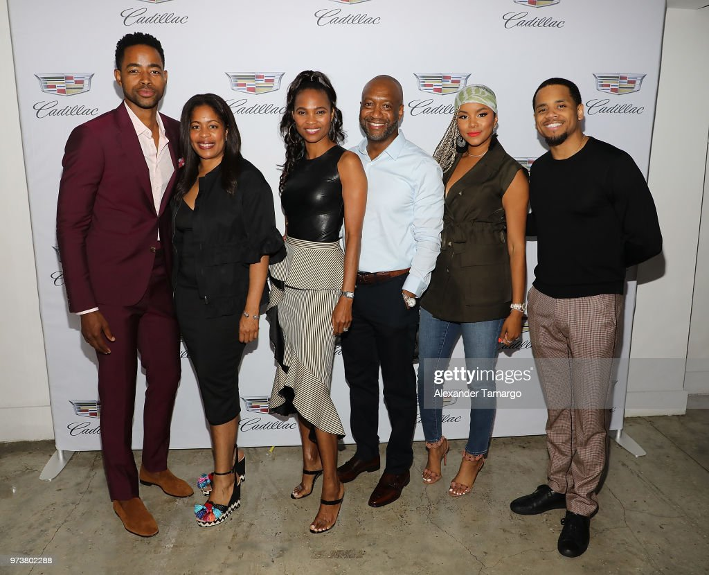 Actor Jay Ellis, GM TV One, Michelle Rice, Nicole Friday, ABFF Founder & CEO, Jeff Friday, actors LaToya Luckett, and Tristan 'Mack' Wilds attend Cadillac Welcome Luncheon At