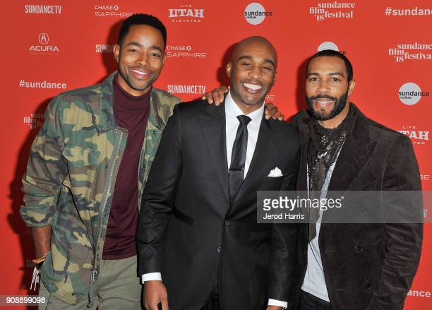 Actor Jay Ellis producer Datari Turner and actor Omari Hardwick attend the A Boy A Girl A Dream Premiere during the 2018 Sundance Film Festival at...