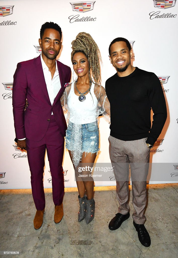 Actor Jay Ellis, recording artist Jade Novah, and actor Tristan 'Mack' Wilds attends Cadillac Welcome Luncheon At