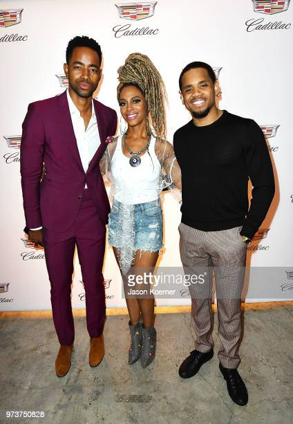 Actor Jay Ellis recording artist Jade Novah and actor Tristan 'Mack' Wilds attends Cadillac Welcome Luncheon At ABFF Black Hollywood Now at The...