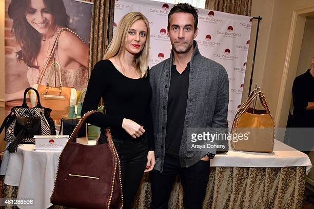 Actor Jay Harrington and Monica Richards attend the HBO Luxury Lounge featuring PANDORA Jewelry at Four Seasons Hotel Los Angeles at Beverly Hills on...