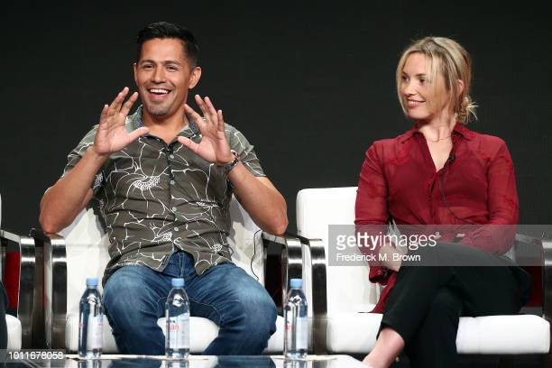 Actor Jay Hernandez and actress Perdita Weeks of the television show Magnum PI speak during the CBS segment of the Summer 2018 Summer Television...