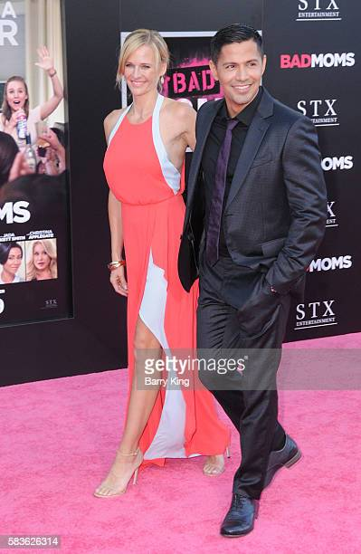 Actor Jay Hernandez and Daniella Deutscher attend the premiere of STX Entertainment's' 'Bad Moms' at Mann Village Theatre on July 26 2016 in Westwood...