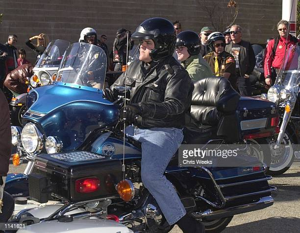 Actor Jay Leno participates by riding his Harley Davidson in the 17th Annual Love Ride November 12 2000 in Glendale CA