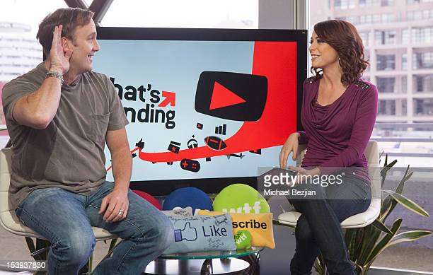 """Actor Jay Mohr and TV personality Shira Lazar attend """"What's Trending"""" on October 11, 2012 in Hollywood, California."""