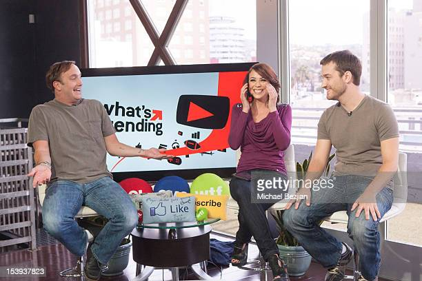 """Actor Jay Mohr, TV personality Shira Lazar and comedian Brock Baker attend """"What's Trending"""" on October 11, 2012 in Hollywood, California."""
