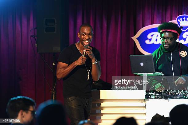 Actor Jay Pharoah and Questlove perform on stage at Urban Arts Partnership at the 15th annual The 24 Hour Plays On Broadway after party at BB King on...