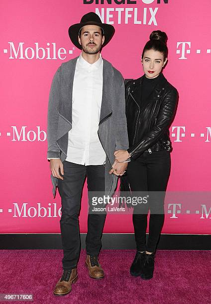 Actor Jayson Blair and actress Allison Paige attend the TMobile Uncarrier X launch at The Shrine Auditorium on November 10 2015 in Los Angeles...