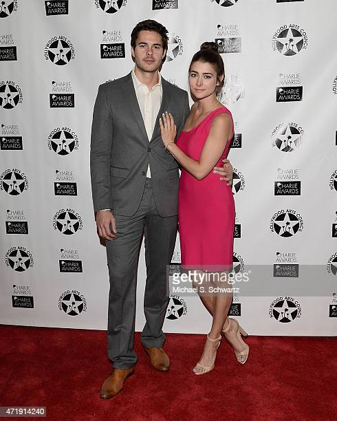 Actor Jayson Blair and actress Allison Paige pose during their attendance at the 29th Annual Charlie Awards Luncheon by The Hollywood Arts Council at...