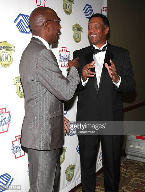 Actor JB Smoove and YES Network Announcer Ken Singleton attend the Boys Girls Club of Mount Vernon 100th Anniversary Gala at the Rye Town Hilton on...