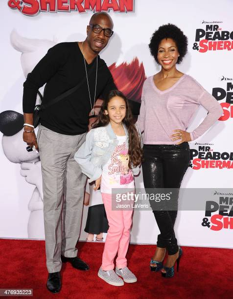Actor JB Smoove wife Shahidah Omar and daughter attend the premiere of Mr Peabody Sherman at Regency Village Theatre on March 5 2014 in Westwood...