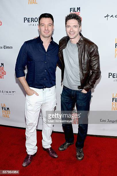 Actor JC Chasez and producer/actor Topher Grace attend the premiere of Opening Night during the 2016 Los Angeles Film Festival at Arclight Cinemas...