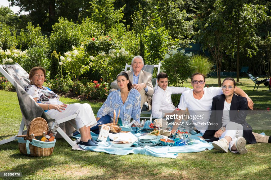 Actor Jean Claude Van Damme is photographed with his family, parents Eugene and Eilana Van Varenberg, wife Gladys and children Kristopher and Bianca for Paris Match on July 21, 2017 in Paris, France.