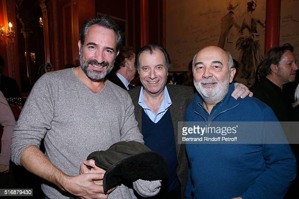 Actor Jean Dujardin Actor of the Piece Daniel Russo and Actor Gerard Jugnot attend the 'L'Etre ou pas' Theater play at Theatre Antoine on March 21...