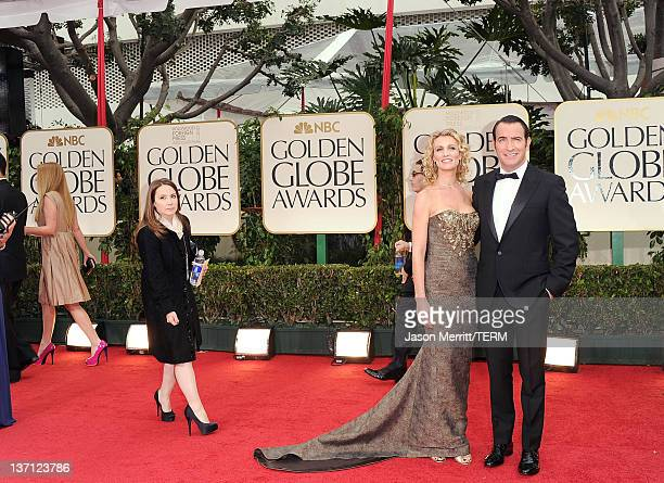 Actor Jean Dujardin and Alexandra Lamy arrive at the 69th Annual Golden Globe Awards held at the Beverly Hilton Hotel on January 15 2012 in Beverly...