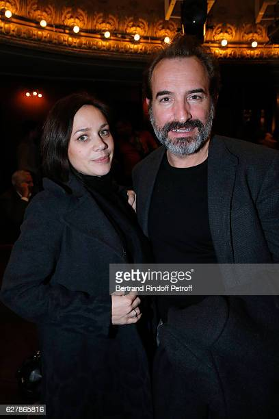 Actor Jean Dujardin and his wife Nathalie Pechalat attend Franck Ferrand performs in his Show Histoires at Theatre Antoine on December 5 2016 in...