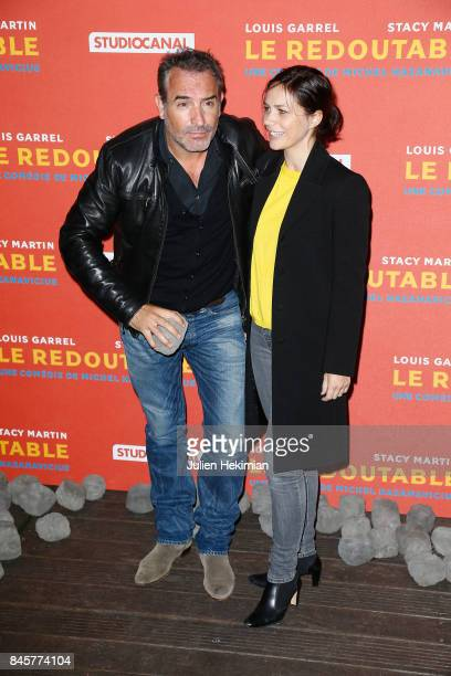 Actor Jean Dujardin and Nathalie Pechalat attend 'Le Redoutable' Paris Premiere at Cinema du Pantheon on September 11 2017 in Paris France