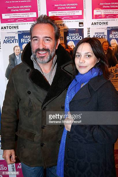 Actor Jean Dujardin and Nathalie Pechalat attend the 'L'Etre ou pas' Theater play at Theatre Antoine on March 21 2016 in Paris France
