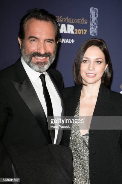 Actor Jean Dujardin and Nathalie Pechalat attend the the Cesar Film Awards 2017 ceremony at Salle Pleyel on February 24 2017 in Paris France