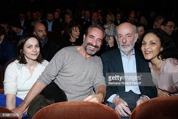 Actor Jean Dujardin and Nathalie Pechalat with Director Bertrand Blier and his wife actress Farida Rahouadj attend the L'Etre ou pas Theater play at...