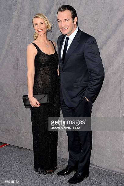 Actor Jean Dujardin and wife Alexandra Lamy arrive at the 17th Annual Critics' Choice Movie Awards held at The Hollywood Palladium on January 12 2012...
