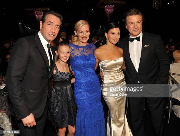 Actor Jean Dujardin Eloisa May actress Penelope Ann Miller Hilaria Thomas and actor Alec Baldwin attend The 18th Annual Screen Actors Guild Awards...
