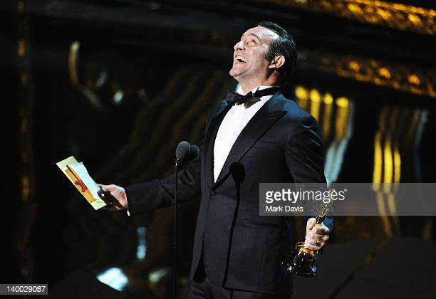 Actor Jean Dujardin receives award for 'Actor in a Leading Role' onstage during the 84th Annual Academy Awards held at the Hollywood & Highland...