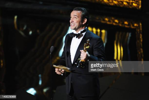 Actor Jean Dujardin receives award for 'Actor in a Leading Role onstage during the 84th Annual Academy Awards held at the Hollywood Highland Center...
