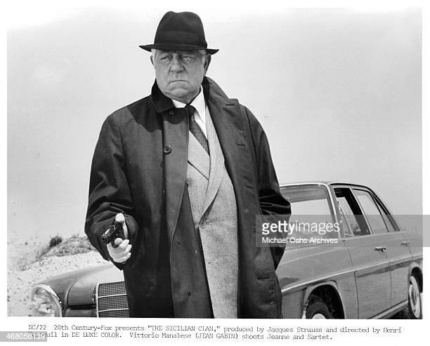 "Actor Jean Gabin on set of the movie ""The Sicilian Clan "" , circa 1969."