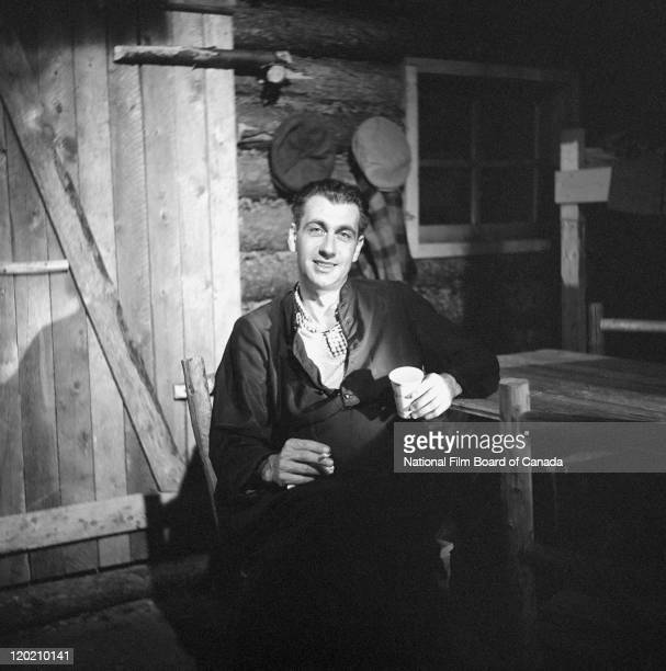 Actor Jean Lajeunesse takes a break on the set of the National Film Board of Canada's production of 'The Promised Land' the epic story of the...