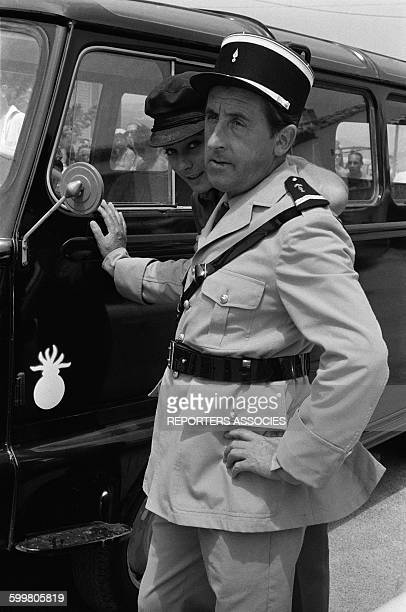 Actor Jean Lefebvre On The Set Of The Movie Series 'Le Gendarme De Saint-Tropez' In France In 1968 .