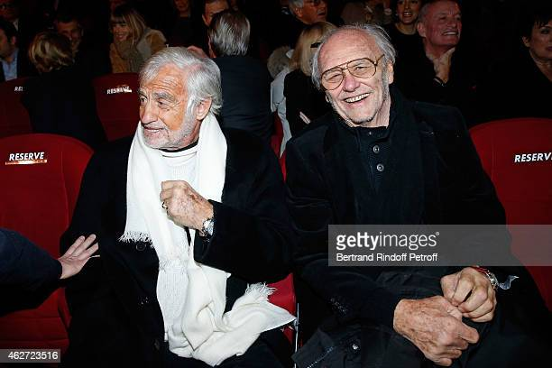 Actor Jean Paul Belmondo and Christian Brincourt attend the Private Screening of the Movie 'Tout Peut Arriver' at Mac Mahon Cinema on February 3 2015...