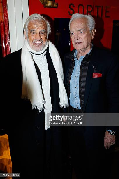 Actor Jean Paul Belmondo and Journalist and Director Philippe Labro attend the Private Screening of the Movie 'Tout Peut Arriver' at Mac Mahon Cinema...