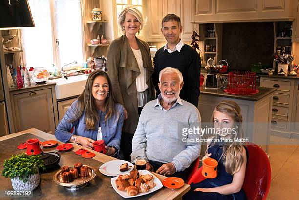 Actor Jean Paul Belmondo on the occasion of his 80th birthday is photographed with his son Paul and wife Luana at his side his daughter Florence and...
