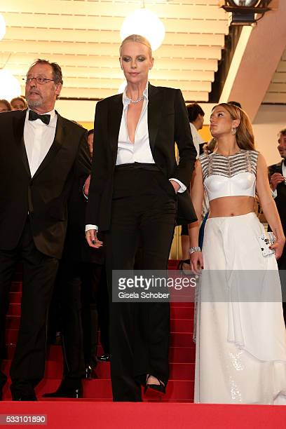 Actor Jean Reno actress Charlize Theron and actress Adele Exarchopoulos leave 'The Last Face' Premiere during the 69th annual Cannes Film Festival at...