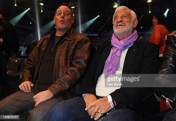 Actor Jean Reno and actor Jean Paul Belmondo are seen prior to the WBO WBA IBF and IBO heavy weight titel fight between Wladimir Klitschko of Ukraine...