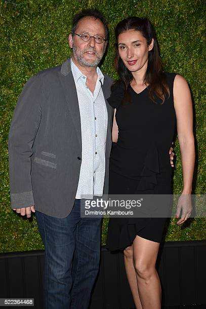 Actor Jean Reno and Nathalie Dyszkiewicz attend CHANEL Tribeca Film Festival Artists Dinner - Arrivals on April 18, 2016 in New York City.