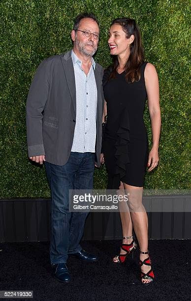 Actor Jean Reno and Nathalie Dyszkiewicz attend the 11th Annual Chanel Tribeca Film Festival Artists Dinner at Balthazar on April 18, 2016 in New...