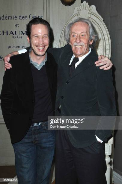 Actor Jean Rochefort and Actor Reda Kateb attend the Chaumet's cocktail party for Cesar's Revelations on January 18 2010 in Paris France
