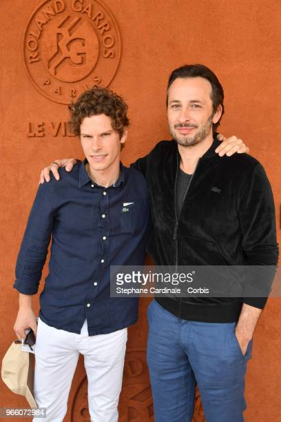 Actor JeanBaptiste Lafarge and and Michael Cohen attend the 2018 French Open Day Seven at Roland Garros on June 2 2018 in Paris France