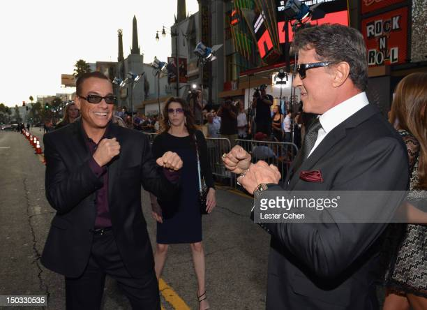 Actor JeanClaude Van Damme and actor/writer Sylvester Stallone arrive at 'The Expendables 2' Los Angeles Premiere at Grauman's Chinese Theatre on...