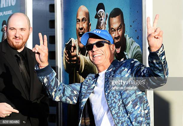 Actor JeanClaude Van Damme and director Peter Atencio arrive at the premiere of Warner Bros' 'Keanu' at the ArcLight Cinemas Cinerama Dome on April...