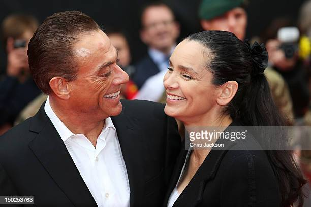 """Actor Jean-Claude Van Damme and Gladys Portugues attend """"The Expendables 2"""" UK film premiere at Empire Leicester Square on August 13, 2012 in London,..."""