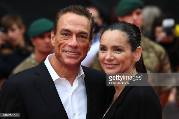 Actor JeanClaude Van Damme and Gladys Portugues attend The Expendables 2 UK film premiere at Empire Leicester Square on August 13 2012 in London...